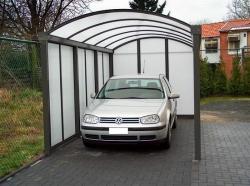 carport 5x3m dichte achterwand en zijwand vooraanzicht